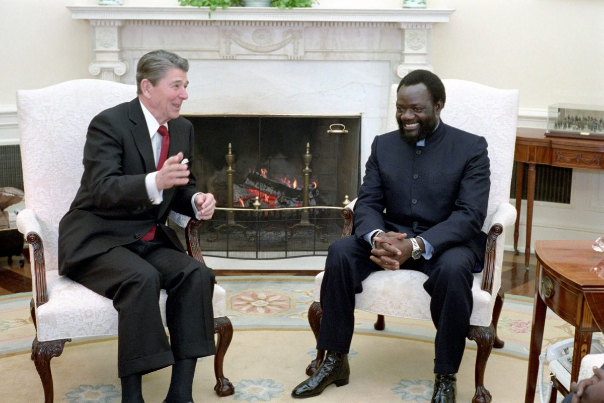 US president Ronald Reagan with Jonas Savimbi in the White House