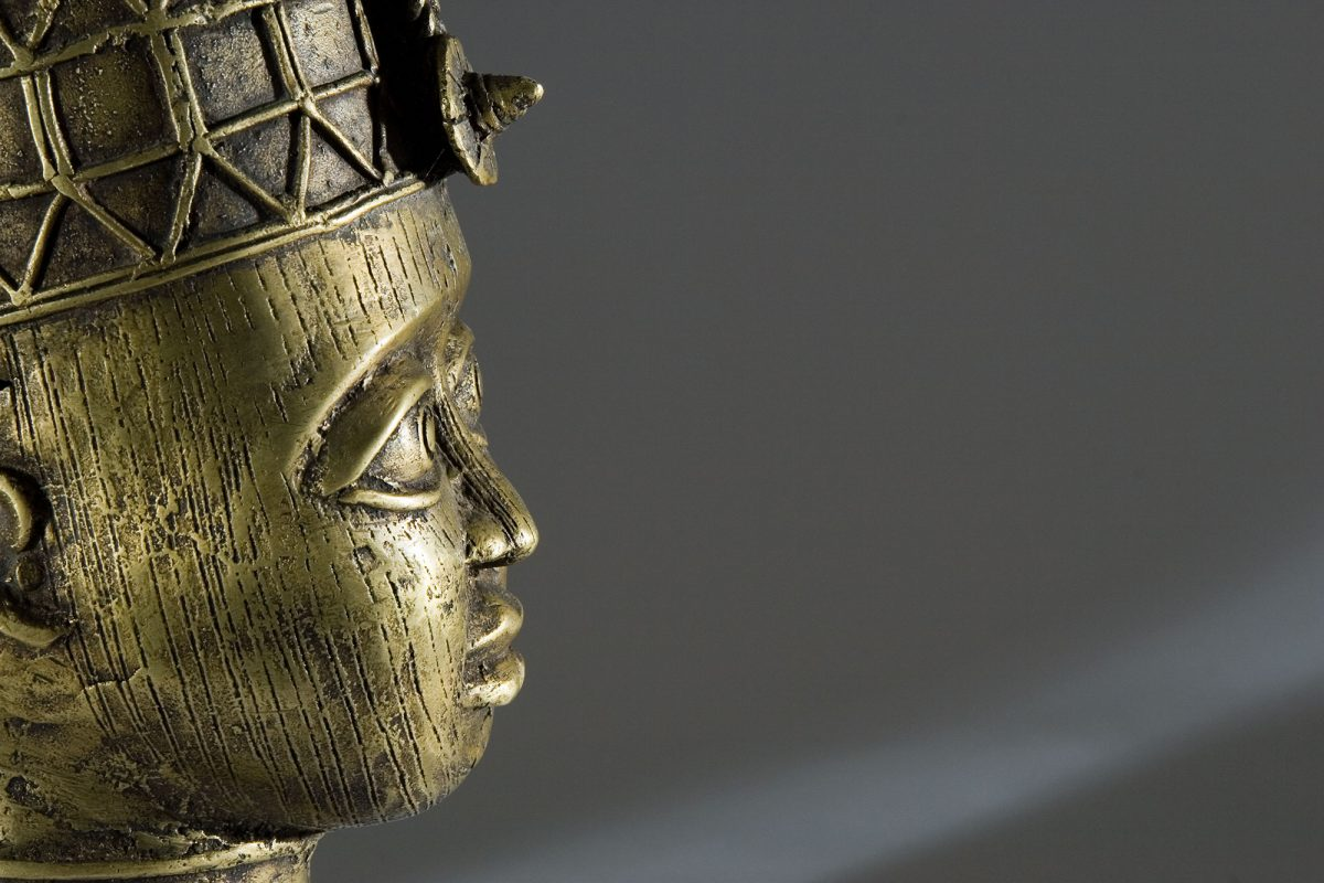 Close up side view of a brass head