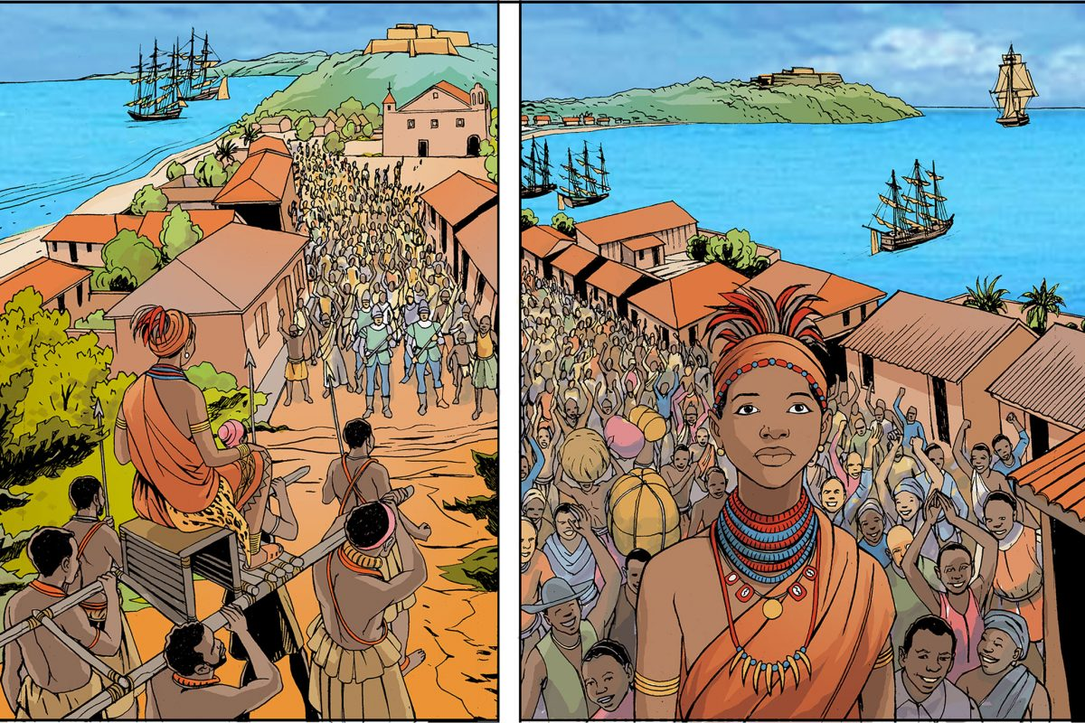 Two drawings showing Nzinga Mbandi